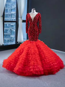Mermaid V Neck Long Sleeves Rhinestone Tulle Prom Dresses Evening Dresses,MD202014