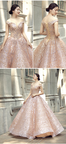 Ball Gown Cape Sleeves V Neck Lace Prom Dresses Evening Dresses,MD202043