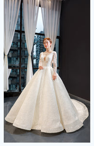 Ball Gown Long Sleeves V Neck Lace Organza Prom Dresses Evening Dresses,MD202067