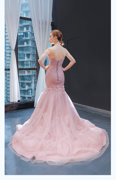Mermaid Sleeveless Sweetheart Tulle Prom Dresses Evening Dresses,MD202045