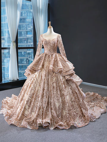 Ball Gown Illusion Long Sleeves Applique Organza Sweep Train Prom Dresses Evening Dresses,MD202017