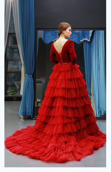 A Line Long Sleeves V Neck Ruffle Satin Prom Dresses Evening Dresses,MD202101