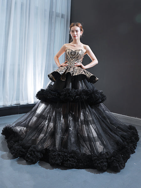 Ball Gown Sleeveless Sweetheart Tulle Prom Dresses Evening Dresses,MD202011