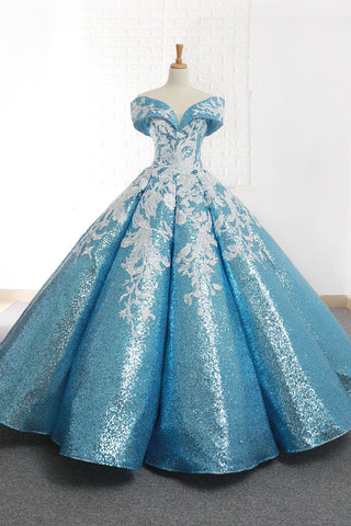 Ball Gown Cape Sleeves V Neck Applique Sequin Prom Dresses Evening Dresses,MD202030