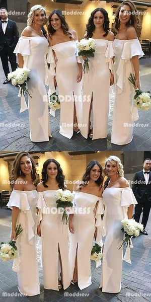 Off the Shoulder Long Bridesmaid Dresses White Stylish Sleeve Bridesmaid Dresses with Slit