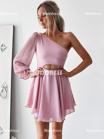 One Shoulder Homecoming Dresses Chiffon Short Homecoming Dresses
