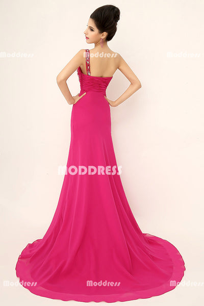 One Shoulder Long Prom Dresses Fuchsia Beaded Evening Dresses A-Line Formal Dresses