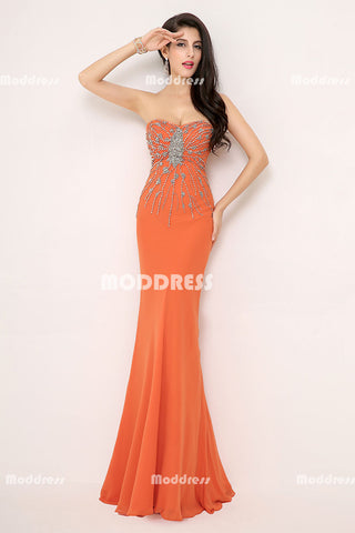Orange Beaded Long Prom Dresses Mermaid Evening Dresses Sweetheart Sleeveless Formal Dresses