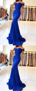 royal blue off shoulder long mermaid cheap formal 2017 prom dress, PD5699