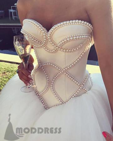 Pearl Beaded Wedding Dresses Sweetheart Ball Gowns Satin Corset Bridal Dresses,HS600