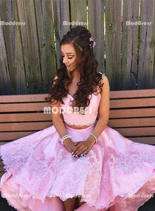 Pink 2 Pieces High Low Homecoming Dresses V-Neck Applique Short Prom Dresses Cute Evening Formal Dresses,,HS827