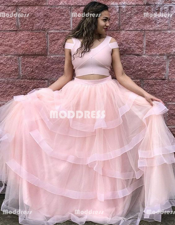 Pink 2 Pieces Long Prom Dresses Tulle A-Line Evening Formal Dresses