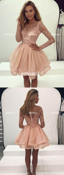 Pink Applique Homecoming Dresses Short Prom Dresses Long Sleeve Knee Length Evening Dresses,HS828