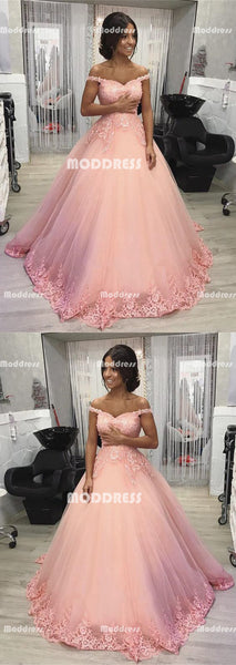 Pink Applique Long Prom Dresses Off the Shoulder Evening Formal Dresses Tulle Ball Gowns