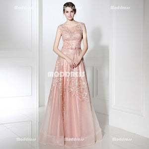 Pink Applique Sequins Long Prom Dresses Cap Sleeve Evening Dresses A-Line Formal Dresses