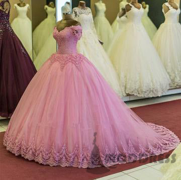 Pink Applique Wedding Dresses V-Neck Ball Gowns Tulle Quinceanera Dresses,HS720