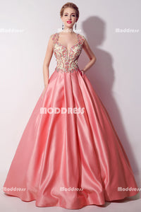 Pink Beaded Long Prom Dresses Satin Ball Gowns Cap Sleeve Backless Evening Formal Dresses