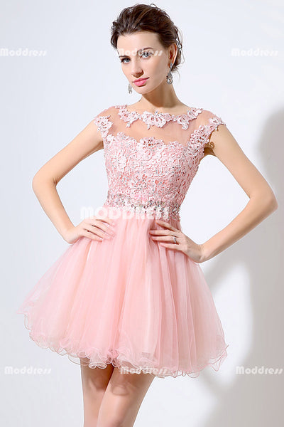 Pink Beaded Short Homecoming Dresses Applique Tulle A-Line Short Homecoming Dresses