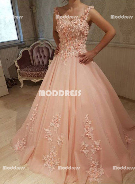 Pink Floral Applique Long Prom Dresses Spaghetti Straps Evening Formal Dresses Tulle Ball Gowns