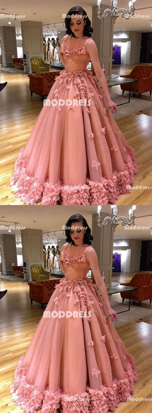 Pink Floral Applique Long Prom Dresses Tulle Pink Ball Gowns
