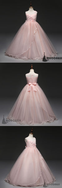 Pink Flower Girl Dresses Scoop Ball Gowns Tulle Princess Pageant Dress Birthday Party Dress