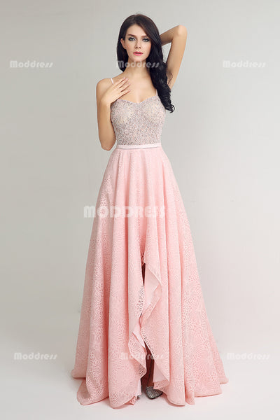 Pink High Low Long Prom Dresses Lace Beading Evening Dresses Spaghetti Straps Formal Dresses