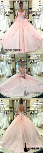 Pink Lace Appliques Ball Bridal Gowns Long Sleeves Wedding Dress Formal Dress