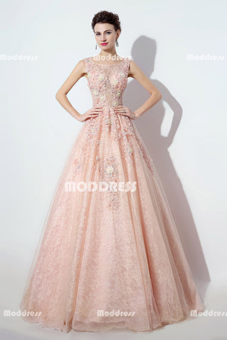 Pink Lace Long Prom Dresses Applique Beaded Evening Dresses A-Line Sleeveless Formal Dresses