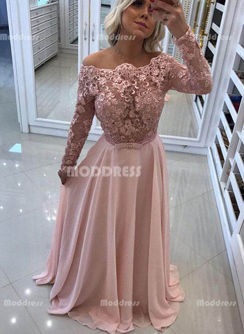 Pink Lace Long Prom Dresses Beaded Long Sleeve Evening Dresses A-Line Formal Dresses,HS802