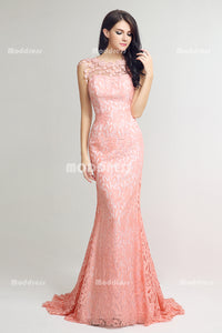 Pink Lace Long Prom Dresses Mermaid Evening Dresses Visiable Back Formal Dresses,LX241