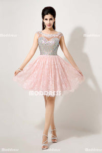 Pink Lace Short Homecoming Dresses Beaded Short Prom Dresses Backless Short Homecoming Dresses