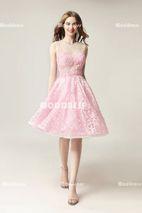 Pink Lace Short Homecoming Dresses Pearls Applique Short Homecoming Dresses