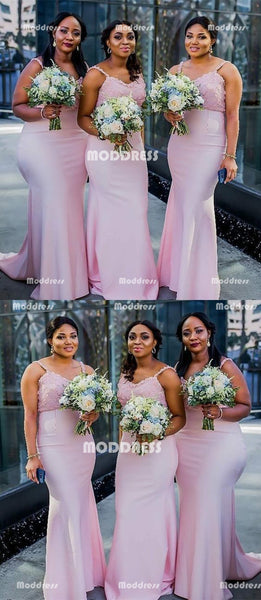Pink Long Bridesmaid Dresses Floral Applique Bridesmaid Dresses Spaghetti Straps Bridesmaid Dresses