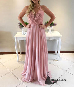Pink Pearls Long Prom Dress Sweetheart  A-Line Chiffon Formal Evening Dress,HS437