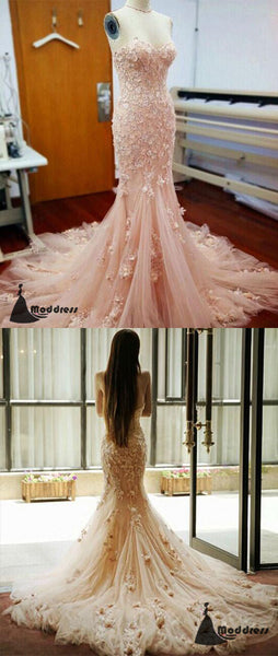Pink Long Prom Dress Sweetheart Flowers Tulle Strapless Mermaid Evening Dress,HS467