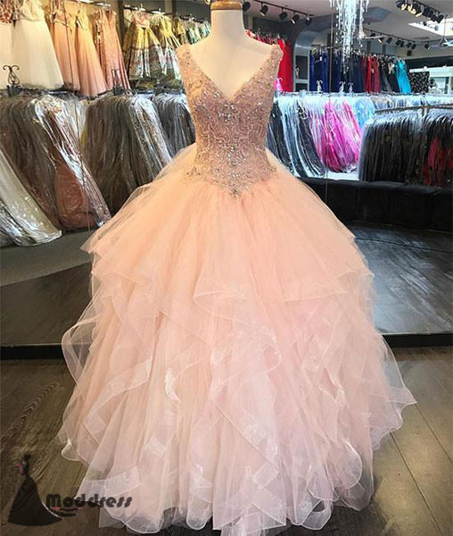 Pink Long Prom Dress V-Neck Beading Ball Gowns Evening Dress,HS392