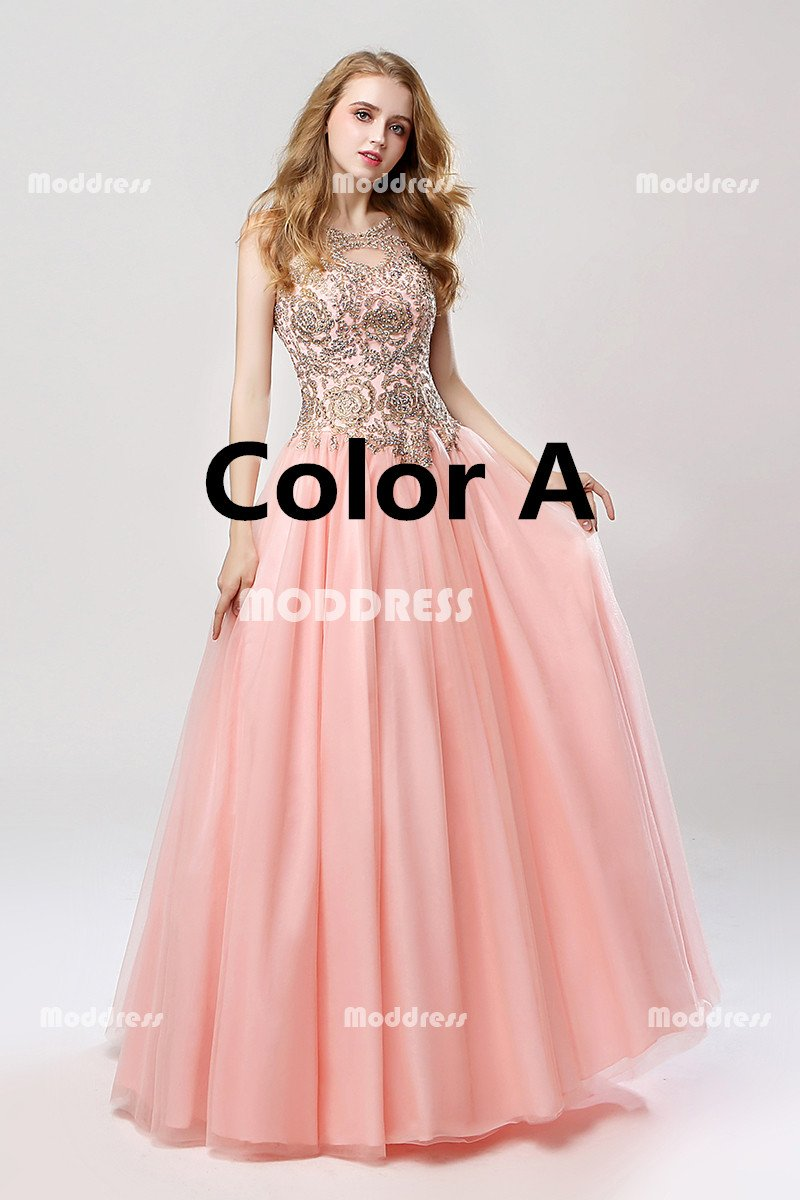 Pink Long Prom Dresses Applique Beaded Evening Dresses A-Line Formal Dresses