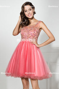 Pink Short Homecoming Dresses Applique Beaded Short Prom Dresses
