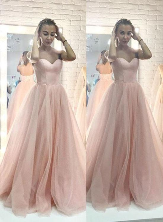 Pink Sweetheart Long Prom Dresses Tulle Evening Dresses A-Line Formal Dresses,HS749