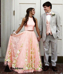 Pink Two Pieces Long Prom Dress Applique Lace Sleeveless Evening Dress,HS416
