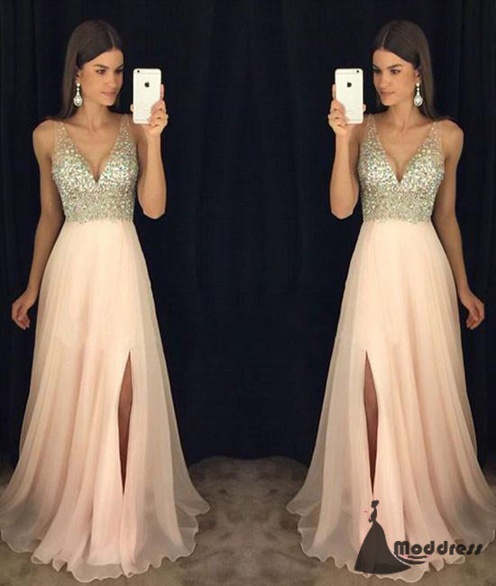 03094dfb35785 Pink V-Neck Long Prom Dress Sequins Chiffon Formal Evening Dress with High  Slit, ...