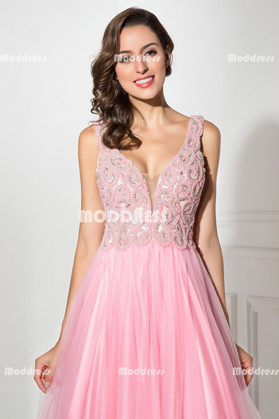 Pink V-Neck Long Prom Dresses Beaded Pearls Evening Dresses Backless A-Line Formal Dresses
