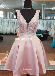 Pink V-Neck Short Homecoming Dresses Satin Prom Dresses Knee Length Evening Formal Dresses,HS892
