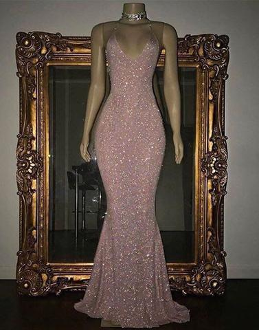 Pink sequin mermaid long prom dresses, sequin evening dresses,HS841