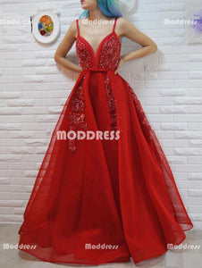 Red Beaded Long Prom Dresses Spaghetti Straps Evening Dresses V-Neck A-Line Formal Dresses