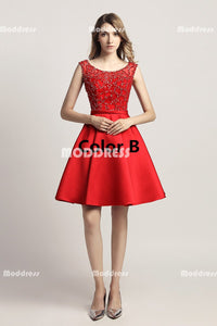 Red Beaded Short Homecoming Dresses Satin A-Line Short Homecoming Dresses