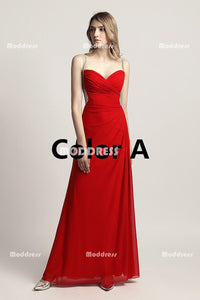 Red Cheap Chiffon Long Prom Dresses Beaded V-Neck Evening Dresses A-Line Formal Dresses