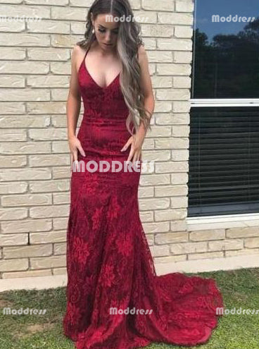 Red Lace Long Prom Dresses Mermaid Evening Dresses V-Neck Formal Dresses