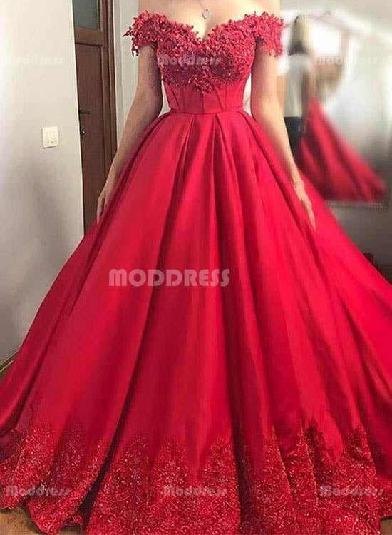 Red Lace Long Prom Dresses Off the Shoulder Evening Dresses A-Line Formal Dresses,HS790