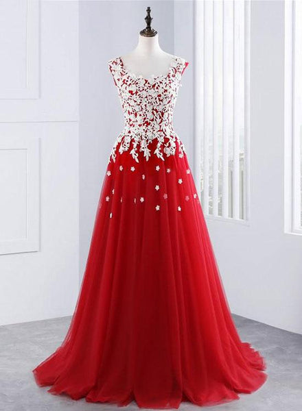 Red Lace Long Prom Dresses Tulle A-Line Evening Dresses Scoop Formal Dresses,HS772